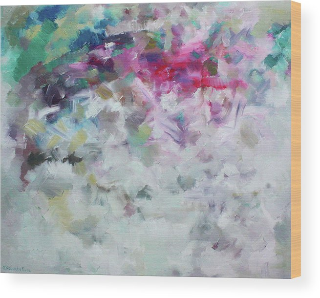 Abstract Wood Print featuring the painting Fresh Calm Breathing by Elisaveta Sivas