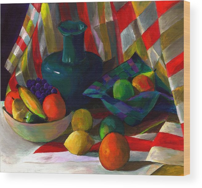 Still Wood Print featuring the painting Fruit Still Life by Peter Shor