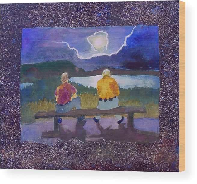 Moon Wood Print featuring the painting Full Moon Rising by Helen Musser
