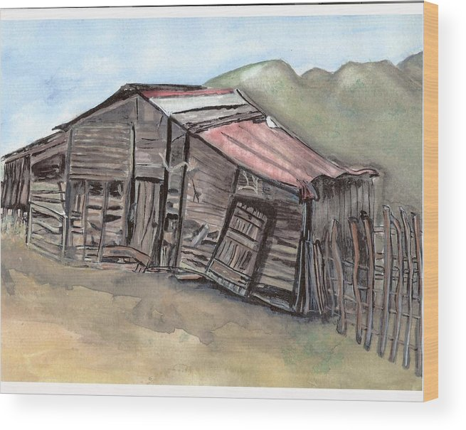 Barn Wood Print featuring the painting Gila New Mexico Cattle Barn by Margaret Fortunato