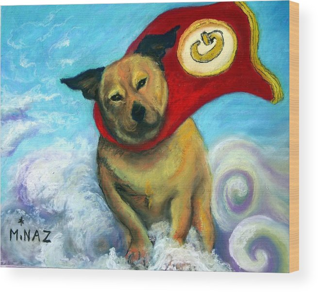 Dog Wood Print featuring the painting Gizmo The Great by Minaz Jantz