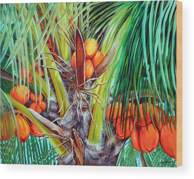Coconuts Wood Print featuring the painting Golden Coconuts by Jose Manuel Abraham