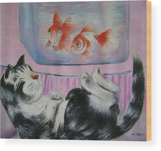 Fantasy Wood Print featuring the painting Goldfish Dream by Lian Zhen