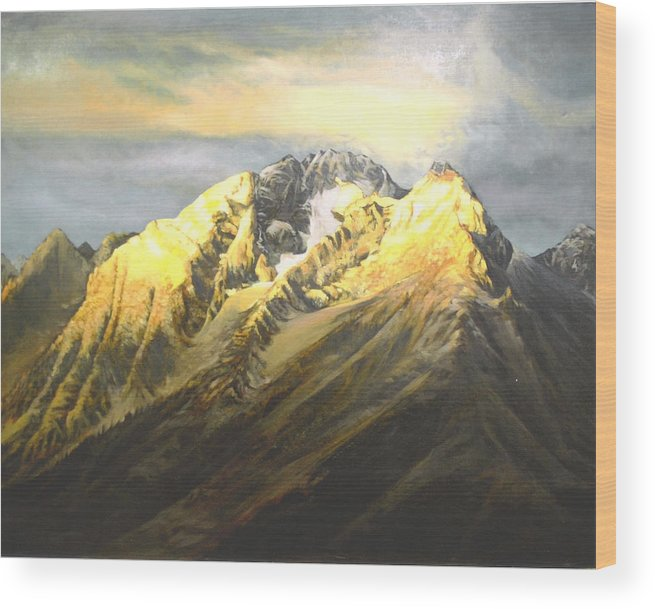 Landscape Wood Print featuring the painting Grand Tetons by Steve Greco