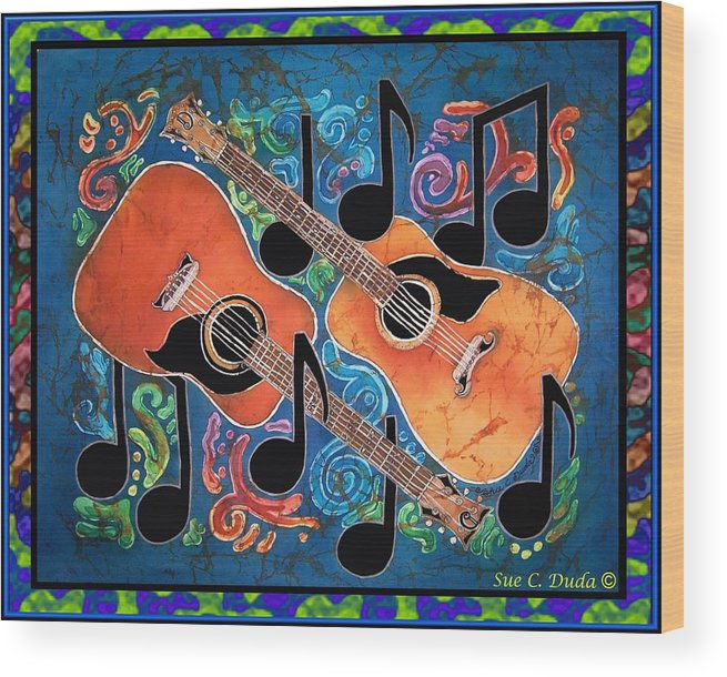 Guitar Wood Print featuring the painting Guitars - Bordered by Sue Duda