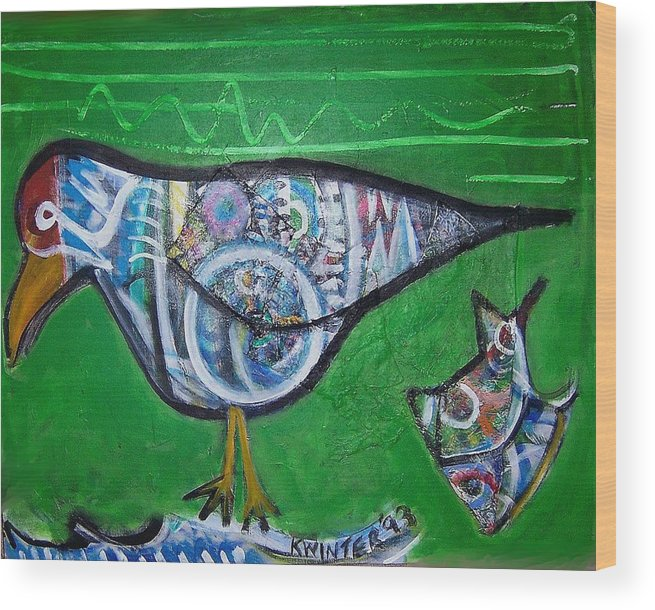 Abstract Red Blue Yellow Purple Wood Print featuring the mixed media Gull by Dave Kwinter