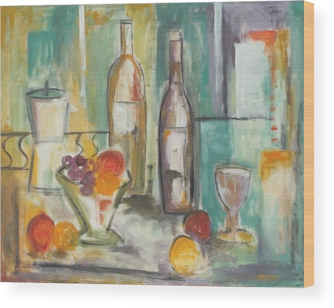 Abstract Wood Print featuring the painting Happy Hour I by Trish Toro
