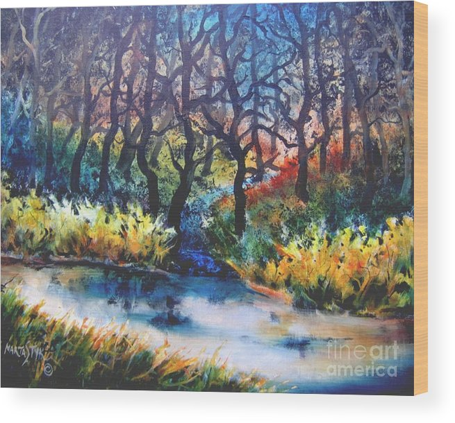 Landscape Wood Print featuring the painting Harmony 1 by Marta Styk