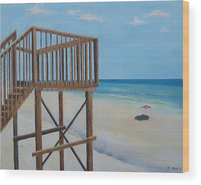 Seascape Wood Print featuring the painting High Deck At Blue Mountain Beach by John Terry