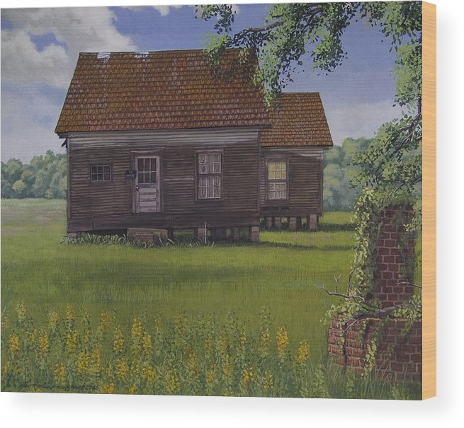 Landscape Wood Print featuring the painting Historical Warrenton Farm House by Peter Muzyka