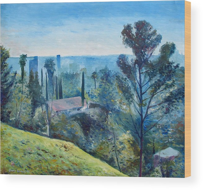 Hollywood Wood Print featuring the painting Hollywood Hills California Usa 1997 by Enver Larney