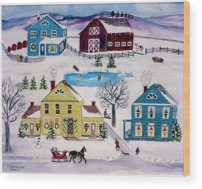 Folk Art Wood Print featuring the painting Home Sweet Home by Sandie Keyser