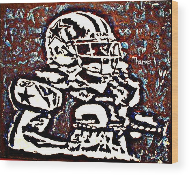 Sports Wood Print featuring the painting I Wanna Be A Cowboy by Christopher Thames