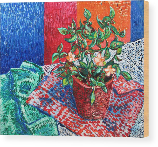 Still Life Wood Print featuring the painting Impatiens by Rollin Kocsis