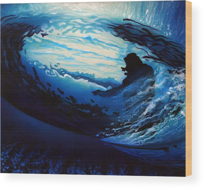 Surf Wood Print featuring the painting In The Eye by Ronnie Jackson