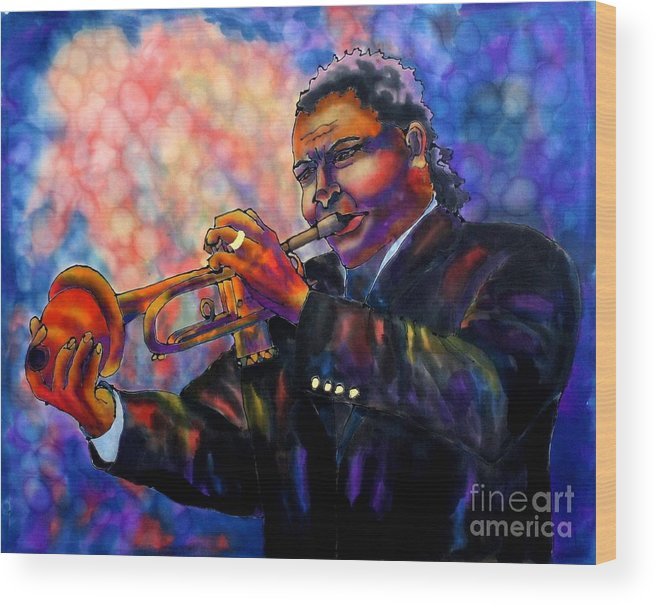 Trumpet Wood Print featuring the painting Jazz Solo by Linda Marcille