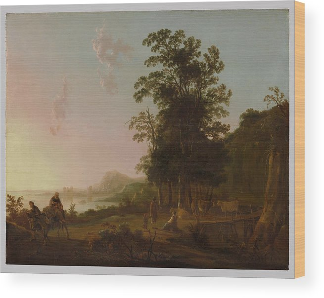 Landscape With The Flight Into Egypt Wood Print featuring the painting Landscape With The Flight Into Egypt by MotionAge Designs