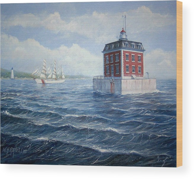 Lighthouse Wood Print featuring the painting Ledge Lighthouse by William H RaVell III