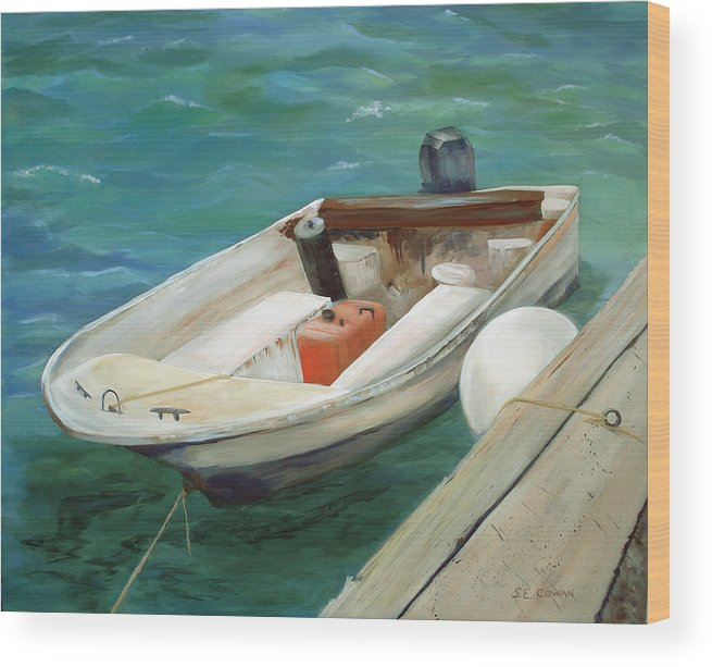 Seascape Wood Print featuring the painting Lets Go Fishing by SueEllen Cowan