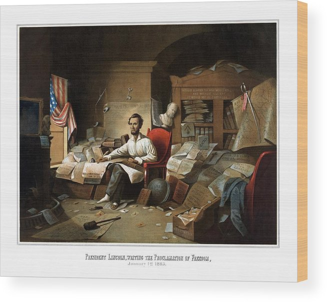 Abraham Lincoln Wood Print featuring the painting Lincoln Writing The Emancipation Proclamation by War Is Hell Store