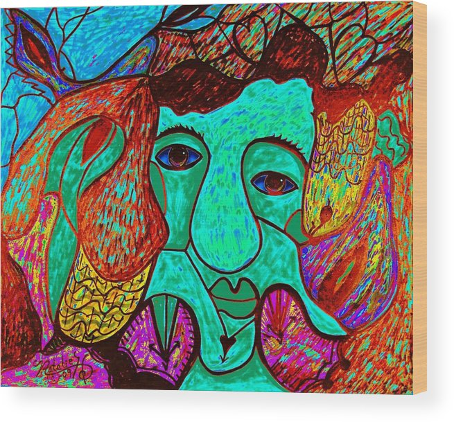 Man Wood Print featuring the painting Looking For Love by Natalie Holland