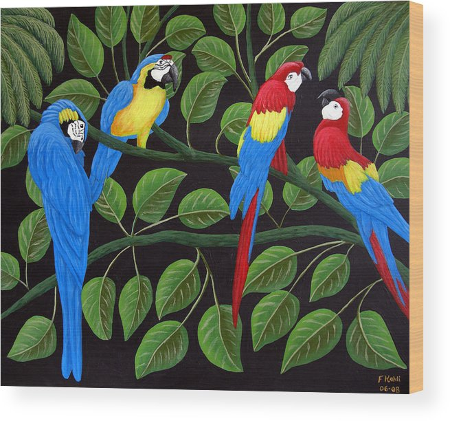 Birds Paintings Wood Print featuring the painting Macaws by Frederic Kohli