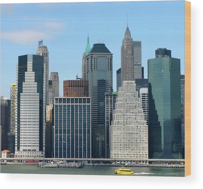 Manhattan Wood Print featuring the photograph Manhattan Skyline With Yellow Boat by Frank Winters