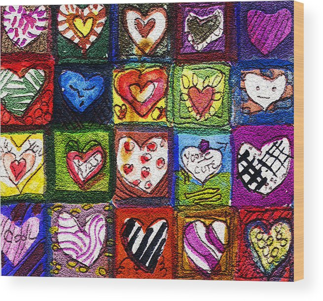 Hearts Wood Print featuring the painting Me Luv by Mindy Newman