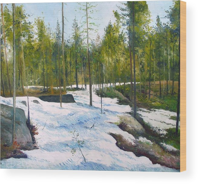 Sweden Wood Print featuring the painting Melting Snow At Umea Norrbotten Sweden 2002  by Enver Larney