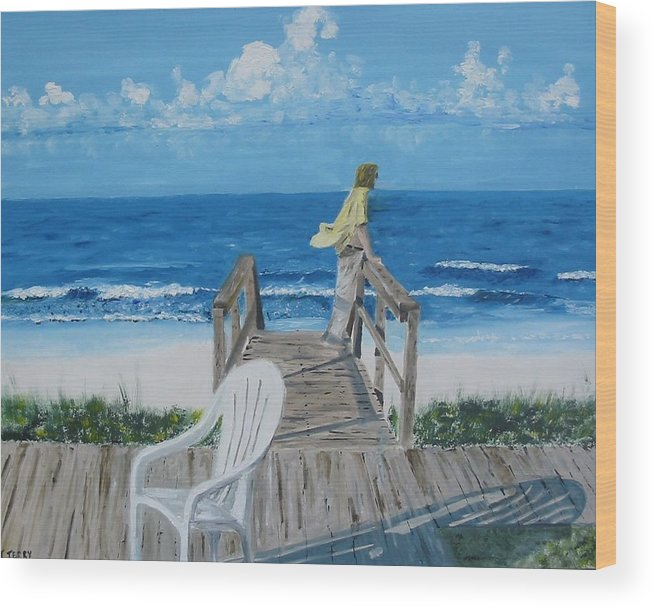 Seascape Wood Print featuring the painting Morning At Blue Mountain Beach by John Terry