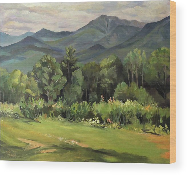 White Mountain Paintngs Wood Print featuring the painting Mount Lafayette From Sugar Hill New Hampshire by Nancy Griswold