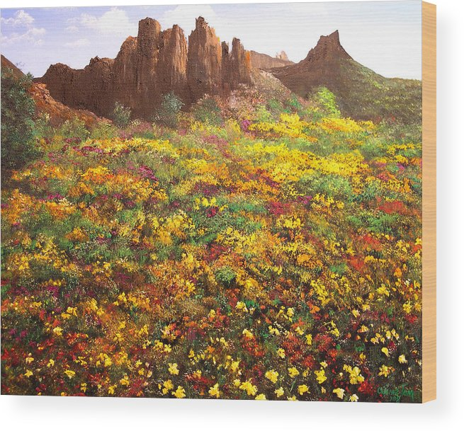 Connie Tom Wood Print featuring the painting Mountain Wildflowers II by Connie Tom