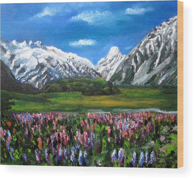 Mountains Landscape Wood Print featuring the painting Mountains Landscape Acrylic Painting by Natalja Picugina