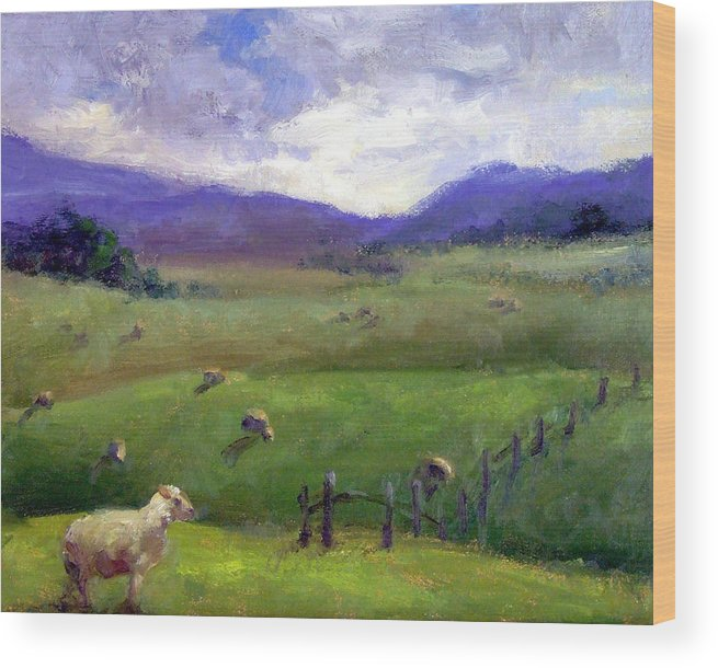 Landscape Painting Wood Print featuring the print New Zealand Sheep Farm by Michelle Philip