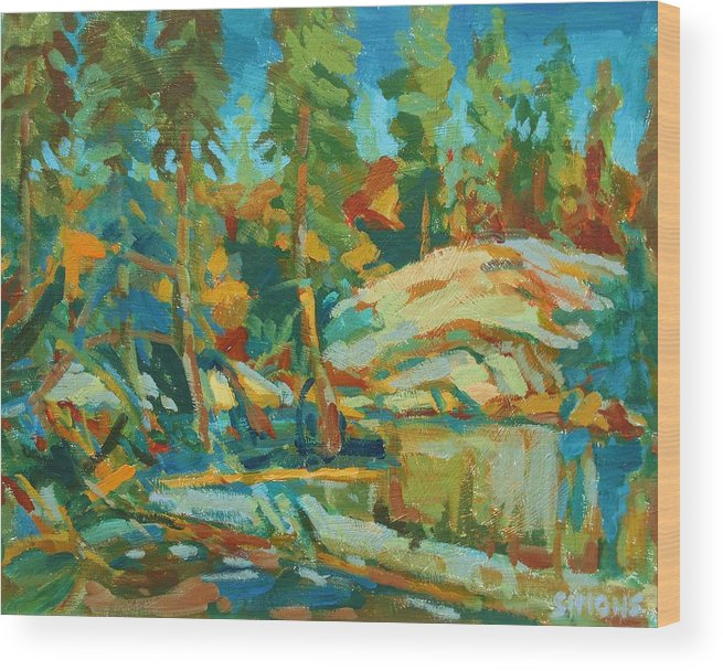 Paintings Wood Print featuring the painting Northern Landscape by Brian Simons