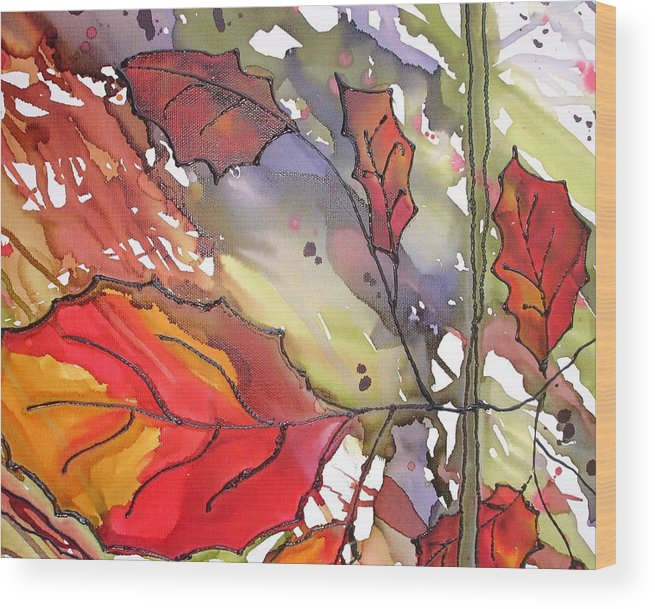 Leaf Wood Print featuring the mixed media Octoberthird by Susan Kubes