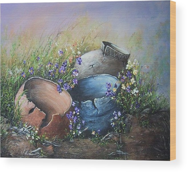 Pottery Wood Print featuring the painting Old Crocks by Theresa Jefferson