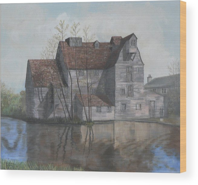 Grain Mill Wood Print featuring the painting Old English Mill by Dan Bozich