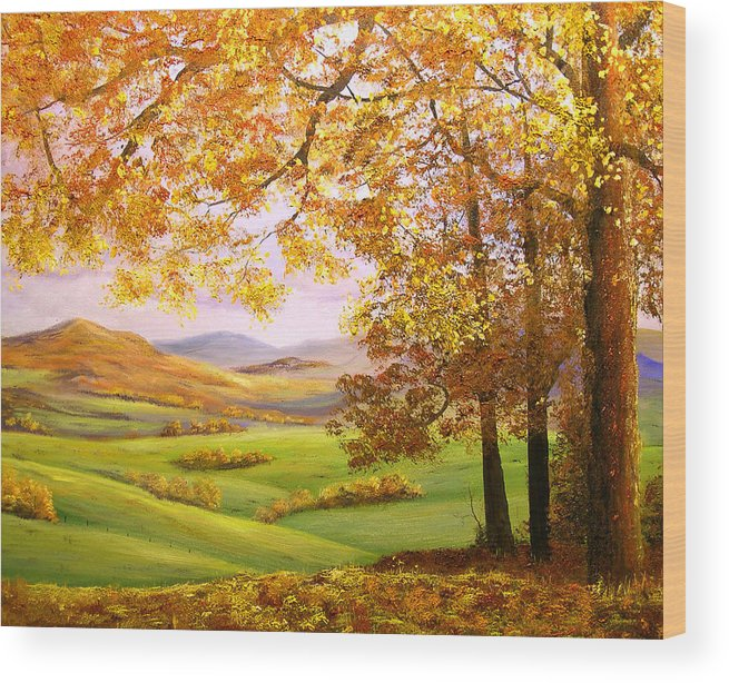 A Painting A Day Wood Print featuring the painting Old Oak Tree On A High Hill II by Connie Tom