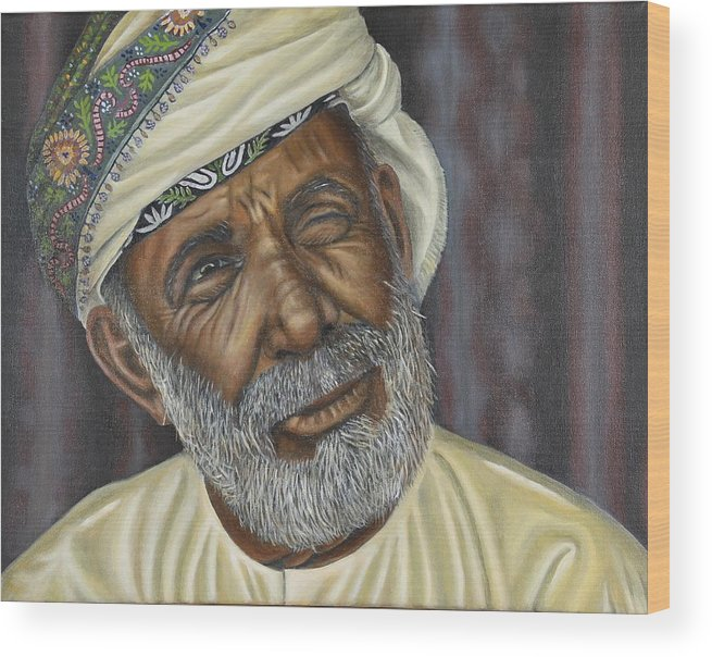 Oil Portrait Wood Print featuring the painting Omar by Richard Summerfield