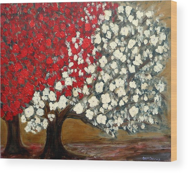 Trees Wood Print featuring the painting One Red Tree by Beth Sebring