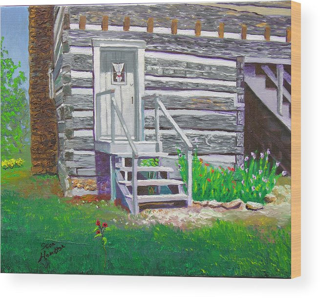 Log Cabin Wood Print featuring the painting Pioneer Village II by Stan Hamilton