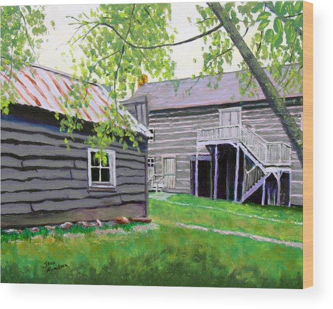 Log Cabin Wood Print featuring the painting Pioneer Village One by Stan Hamilton