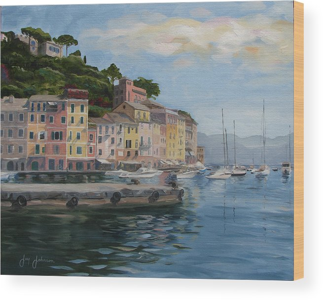 Wood Print featuring the painting Portofino Port by Jay Johnson