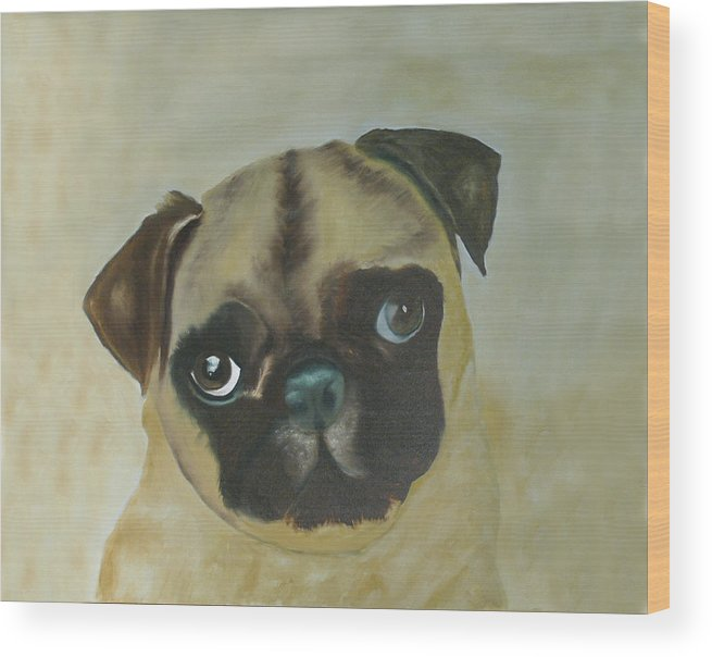 Wood Print featuring the painting Pug by Dick Larsen