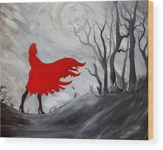 Red Riding Hood Wood Print featuring the painting Red by Michelle Schaeffer