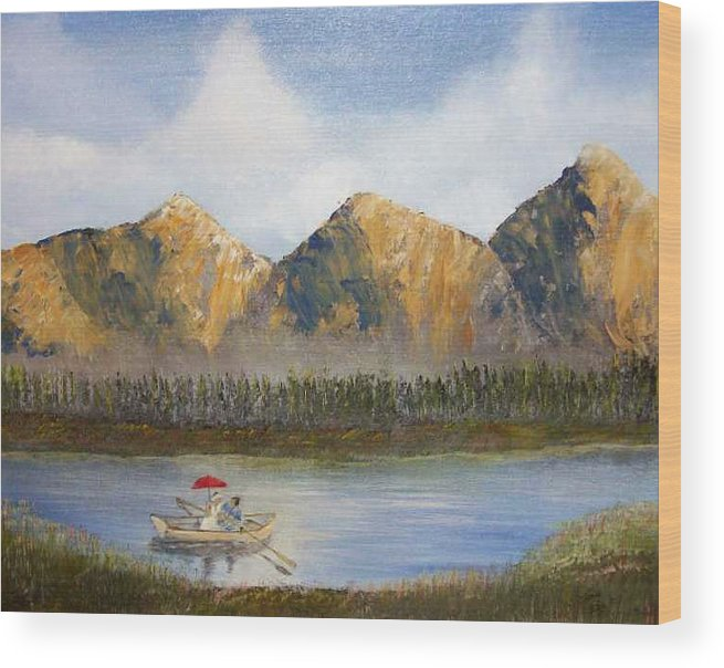 Landscape Wood Print featuring the painting Red Umbrella by Tony Rodriguez