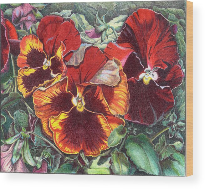 Florals Wood Print featuring the painting Ring Of Fire by Joyce Hutchinson