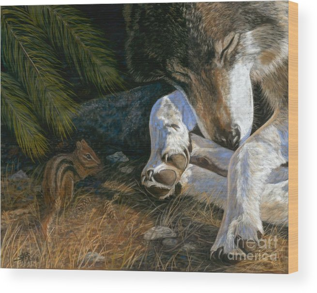 Wolf Wood Print featuring the painting Risky Business by Sheri Gordon