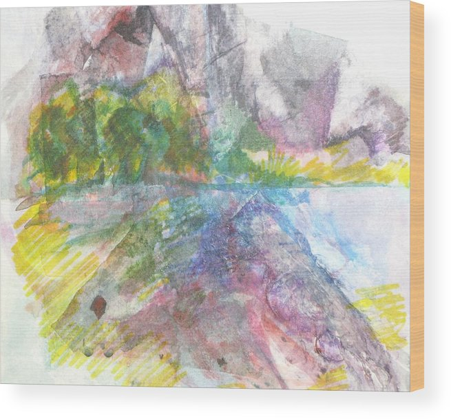 Landscape Wood Print featuring the painting River Rocks by Kathy Mitchell